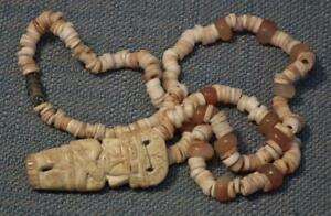 Antique Pre Columbian 500 1500 A D Tairona Necklace Pendant With Priest Figure