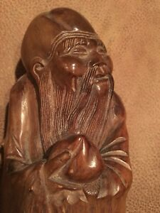 Chinese Burl Root Wood Carving Immortal Statue