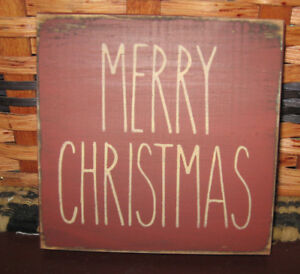 Primitive Country Merry Christmas Mini Sq Sign