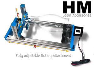Hm V2 1 Fully Xyz Adjustable Laser Rotary Attachment For K40 Engraver