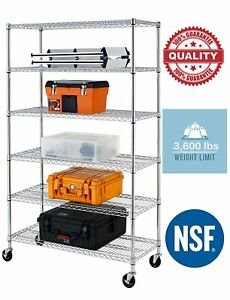 6 Tier Heavy Duty Wire Shelving Rack 48 x18 3600lbs Metal Rack W casters Chrome