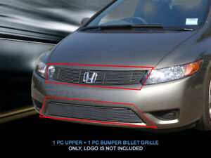 Billet Grille Grill Combo For Honda Accord Coupe 2006 2007