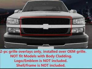 Black Billet Grille Grill For 2002 2006 Chevy Silverado 1500 2500 avalanche 2500