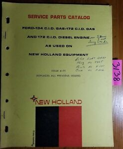 New Holland Ford 134 Gas 172 Gas Diesel Engine Service Parts Catalog Manual 71