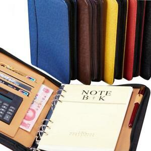 Spiral Leather Zipper Notebook Journal Calculator Pen Holder Portfolio Organizer