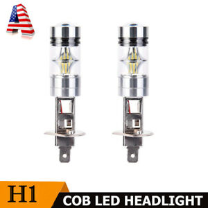 2pack H1 6000k Super White 100w Cree Led Headlight Bulbs Kit Fog Driving Light