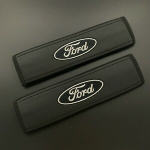 Soft Seat Belt Shoulder Pads Covers Ford Silver And Black Embroidery 2pcs
