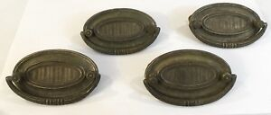Set Of 4 Vintage Ornate Pressed Tin Oval Pull Drawer Pulls W Spare Parts