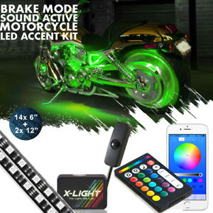 16x Motorcycle Led Under Glow Light Kit Multi color Neon Strip Bluetooth Control