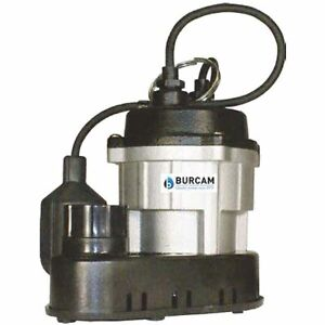 Burcam Pumps 300781 1 2 Hp Cast Iron Thermoplastic Submersible Sump Pump