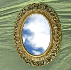 Vintage Oval Wall Mirror Ornate Bright Gold 1959 Hollywood Regency 30x19
