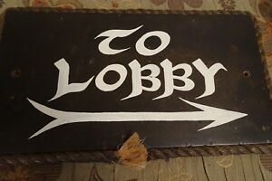 Unique Vintage Solid Wooden Sign To Lobby W Rope Frame Once Used In Hotel
