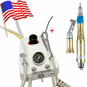 Dental Portable Turbine Unit Gold Slow low Speed Handpiece Kit 4 Holes Sn4