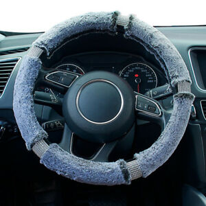 Gray Soft Fluffy Furry Car Steering Wheel Cover Bling Crystal Girls Ladies Gift