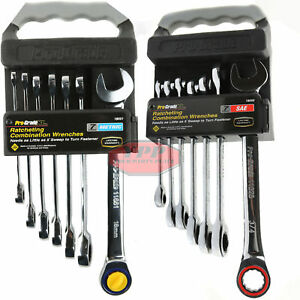 14 Pc Combo Hd Ratcheting Combination Wrench Set Sae Metric Polished Box End