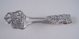 Marthinsen Sterling Silver Valdres Norwegian Ice Salad Tongs Rare Floral Lovely