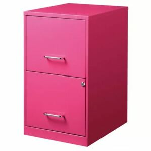 2 Drawer File Cabinet With Lock Lockable Filling Home Office Letter Storage Pink
