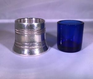 Vintage E P N S Sheffield Silver Plate Salt Blue Glass Liner Silverplate Pepper