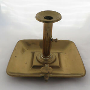 Vintage Georgian Style Square Brass Ejector Chamberstick Candlestick Go To Bed