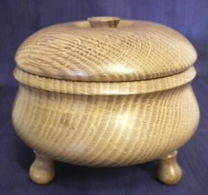 Craft Turned Elm Footed Lidded Bowl Treen