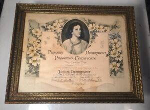 Vintage Gilded Wood Picture Frame 1934 Church Promotion Certificate Floral