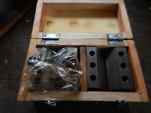 Set Of Machinist V Blocks With Wooden Case Jig Fixture