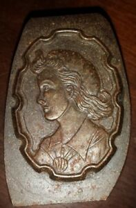 Vintage Bronze Printers Print Press Block Of Young Women With Long Flowing Hair