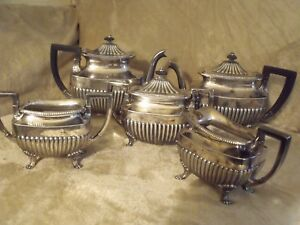 Complete 5 Piece Antique Middletown Silver Tea Coffee Set