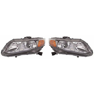 Fits 2012 Honda Civic Pair Head Lights Driver And Rh Bulbs Incl Nsf Sedan coupe