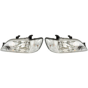 Fits 2002 2003 Mitsubishi Lancer Pair Head Lights Driver Rh W chrome Ex Evo