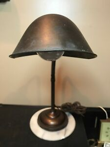Vintage Brass Desk Lamp Industrial Goose Neck Style Good Condition It Works