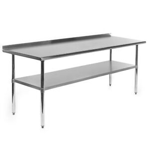 Stainless Steel Kitchen Restaurant Work Prep Table 72 X30 w Backsplash Casters