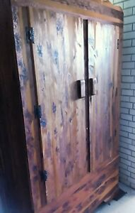 Vintage All Wood Cedar Closet Armoire Wardrobe In Excellent Condition