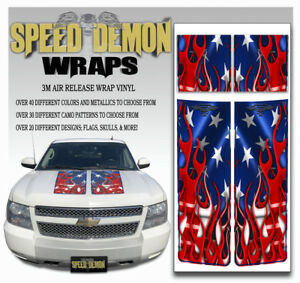 Avalanche Truck Racing Stripe Hood Tailgate Rally Decals American Flag 07 13 Bl
