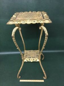Antique Victorian Bradley Hubbard Brass Plated Cast Iron Plant Stand Table