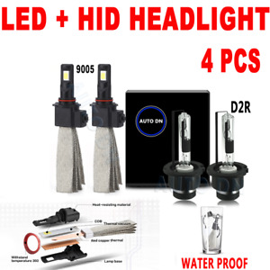 4x Led High Beam Low Beam Headlight Bulb Combo 9005 D2r F 6000k White