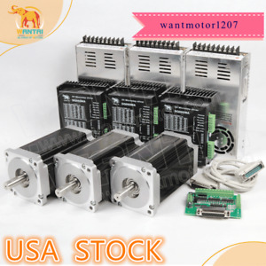 Usa Free wantai 3axis Nema34 Stepper Motor 1232oz in 5 6a 4 lead Driver Cnc Kit