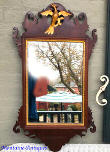 Large Chippendale Mirror With Gilt Eagle C 18th Century