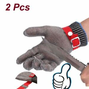 2pcs Stainless Steel Mesh Butcher Heavy Work Glove Safe Cut Resistant Protective