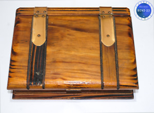 Antique Vintage Georgian Wooden Box In Book Form With Velvet Cloth French Style