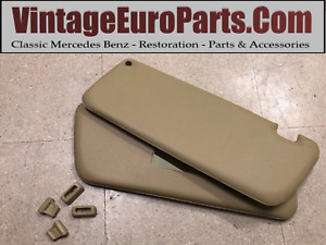 Pair Of New Sun Visors Fits Mercedes Sl W107 Beige With Mirror Clips