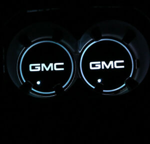 2x For Gmc Gmc Led Car Cup Bottle Holder Pad Mat Auto Interior Atmosphere Lights
