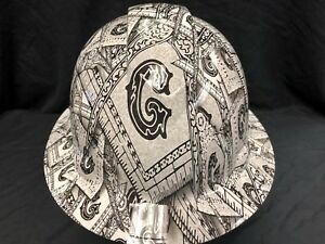 New Full Brim Hard Hat Custom Hydro Dipped Boss Skulls Free Shipping