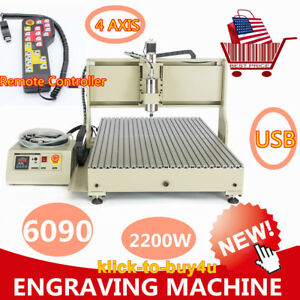 Vfd Usb Cnc Router 4 Axis 6090 Carving Machine Metal Wood Engraving Machine Usa