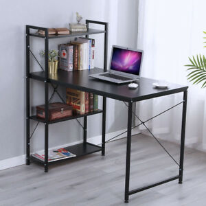 Computer Desk 4 Tier Bookshelves Study Table Writing Workstation Office Black