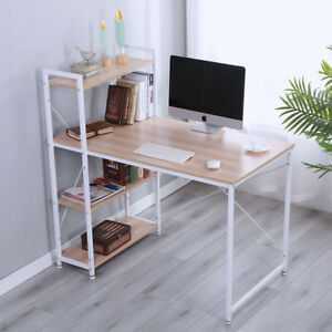 Computer Desk 4 Tier Bookshelves Study Table Writing Workstation Office Wooden