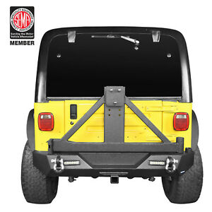 Texture Rear Bumper W Spare Tire Carrier D Rings For Jeep Wrangler Tj 97 06