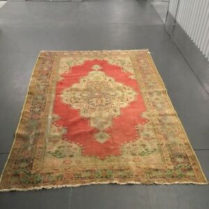 Oushak Antique Vintage In Wool Green Red Brown 7 7 X 5 1 Rare