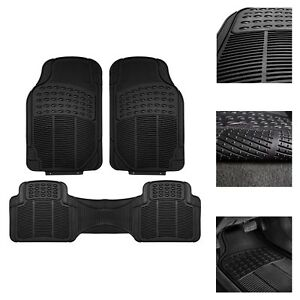 3pc Universal Floor Mats For Auto Car Suv Van All Weather Heavy Duty Black Set