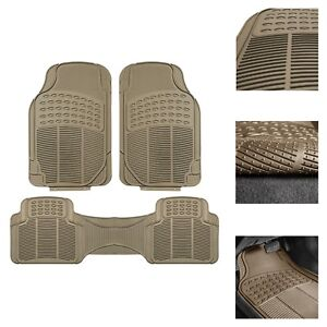 3pc Universal Floor Mats For Auto Car Suv Van All Weather Heavy Duty Beige Set